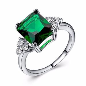 CZ Emerald Asscher Shape Sterling Silver Ring